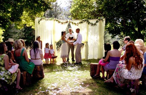 altar de um casamento em casa