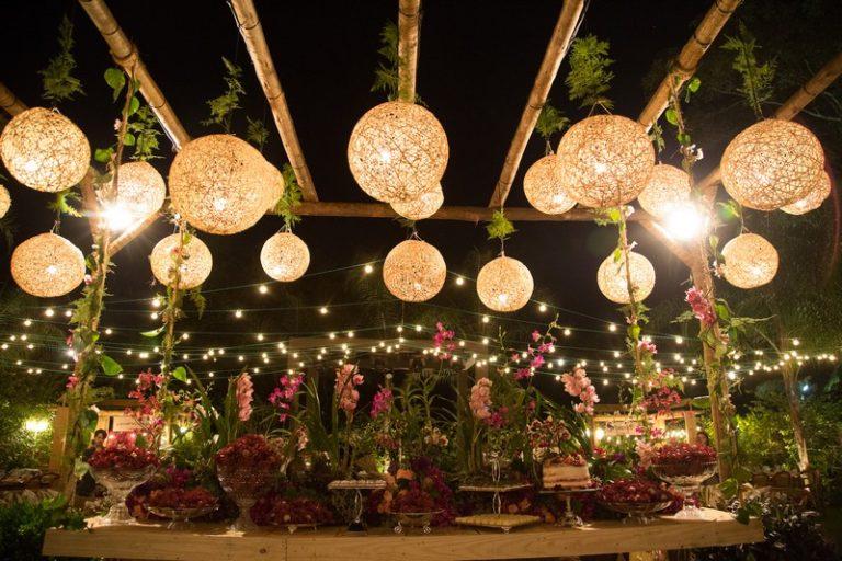 iluminação de casamento barata para teto
