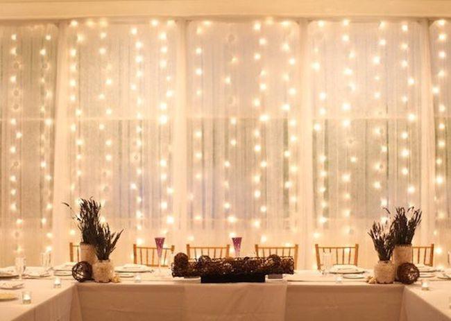 iluminação de casamento barata com pisca pisca