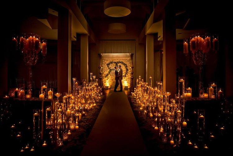 iluminação para casamento barata com velas