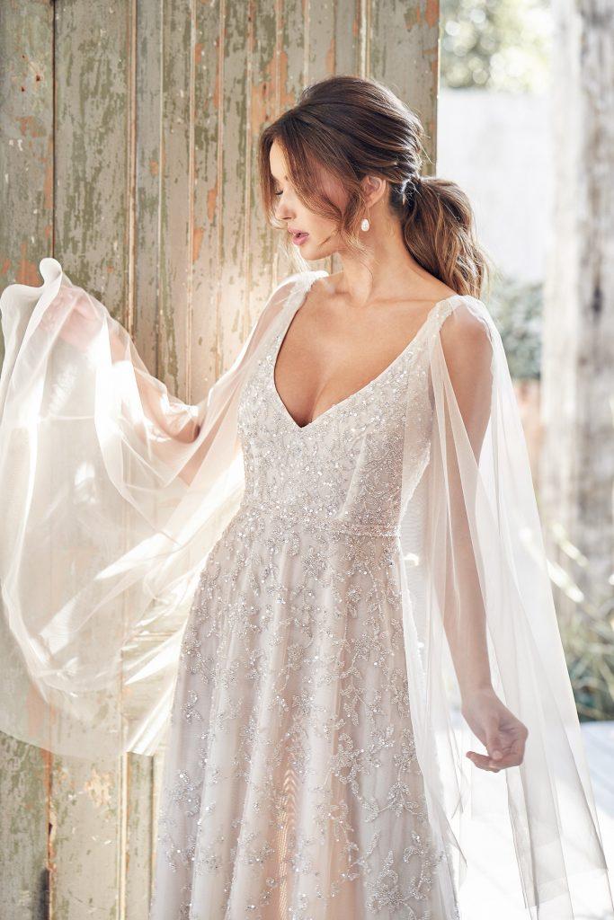 vestido de noiva com brilho com manga longa