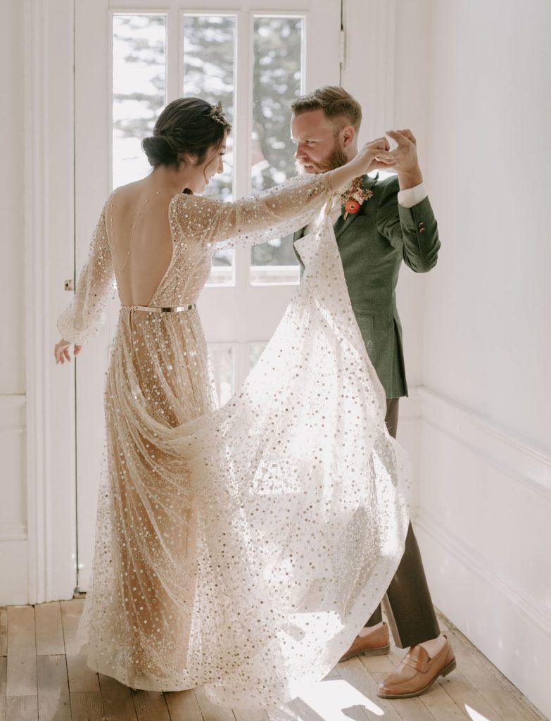 vestido de noiva com brilho com saia de tule