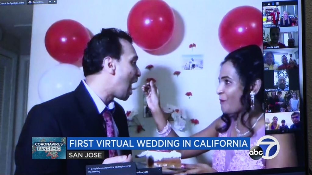 festa de casamento virtual na califórnia
