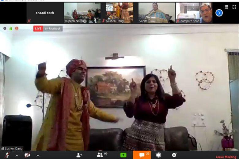 festa de casamento virtual na índia
