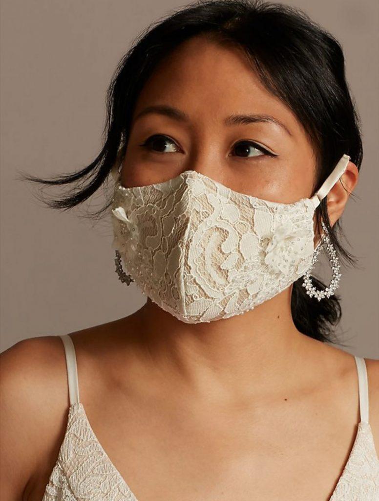 noiva de máscara de renda branca