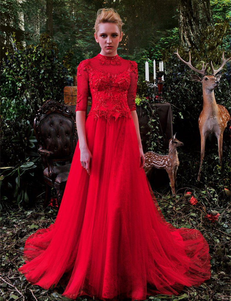 vestido de casamento vermelho com renda