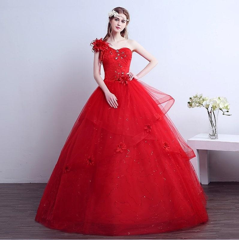 vestido de casamento vermelho tule
