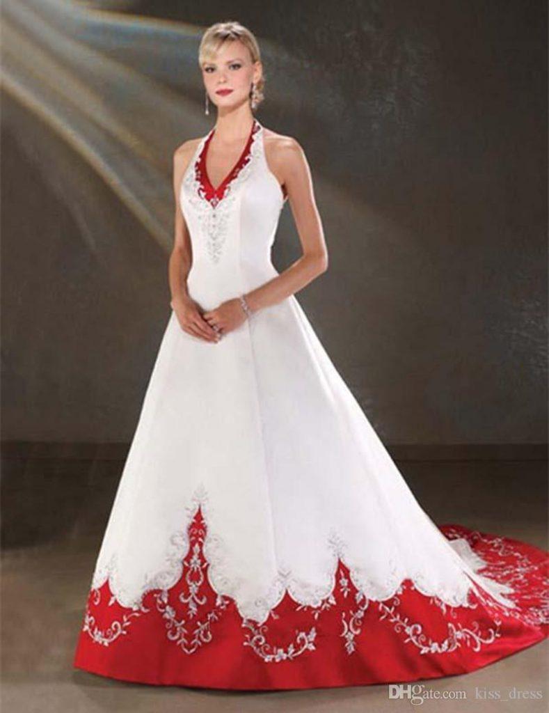 vestido de casamento vermelho e branco
