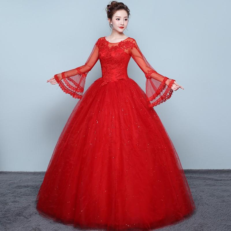 vestido de casamento vermelho com manga comprida