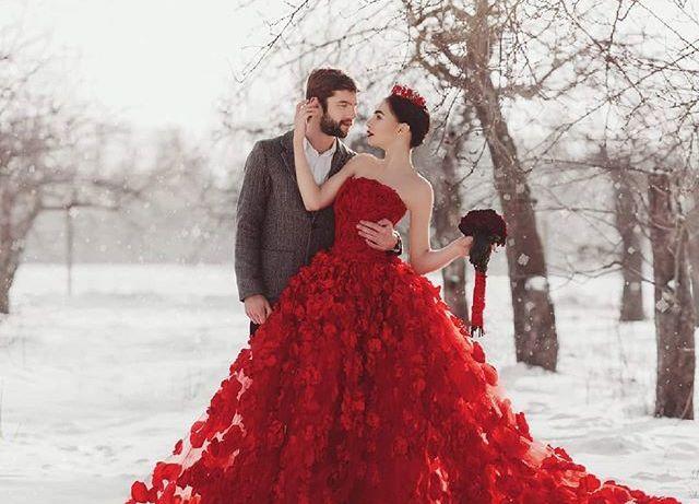 ideias de vestido de casamento vermelho