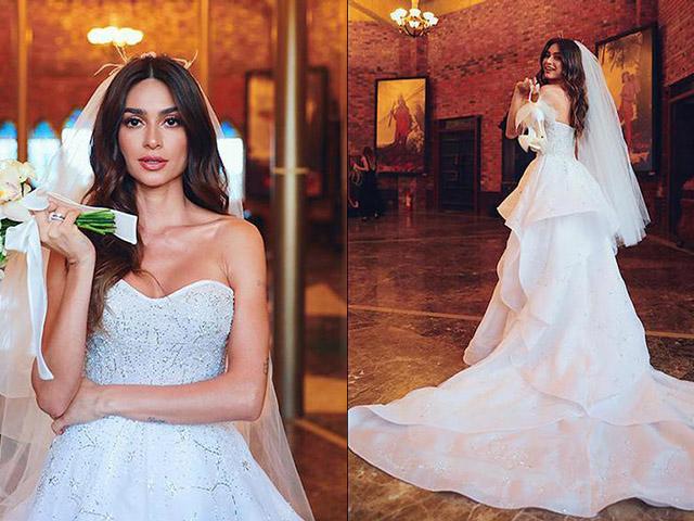 detalhes do vestido de noiva Thaila Ayala