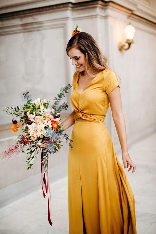 vestido de noiva amarelo amarelo escuro