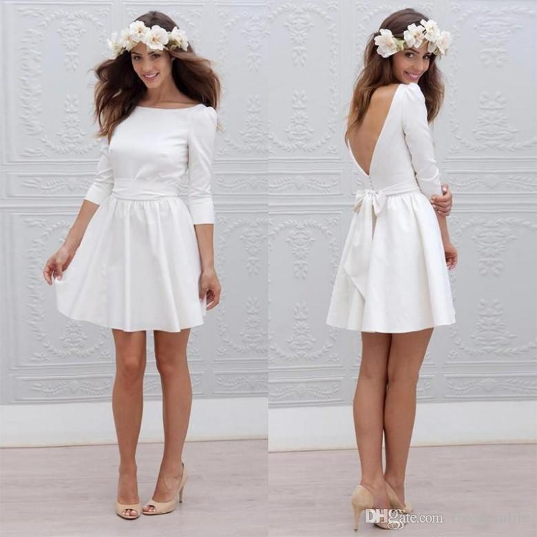 vestido de noiva curto com saia drapeada