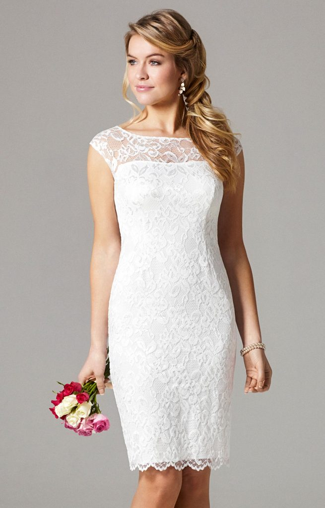 vestido de noiva curto renda manga curta