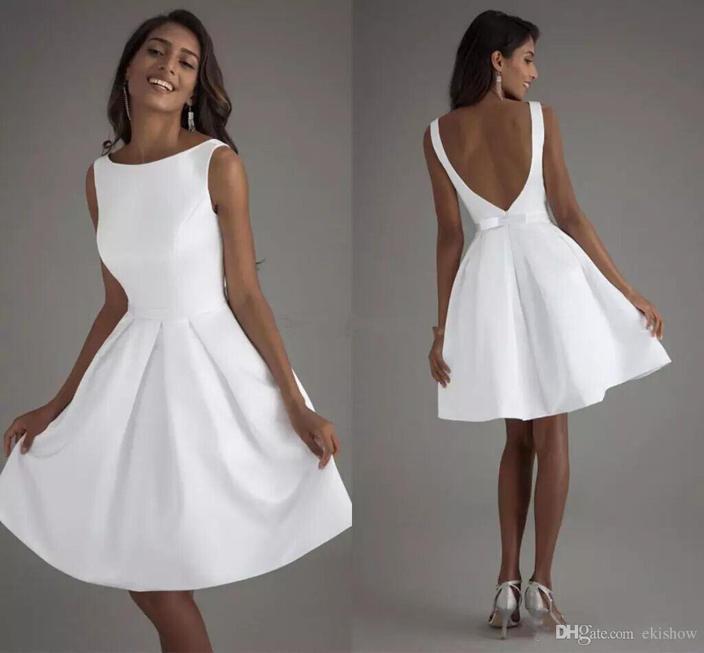 vestido de noiva curto branco liso