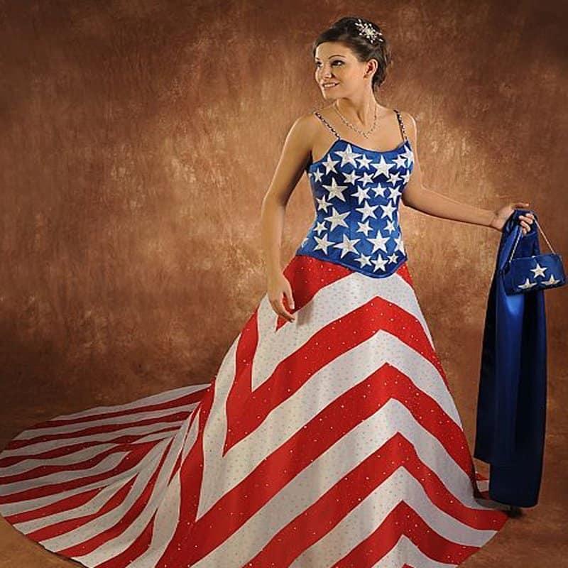 vestido de noiva diferente patriótico