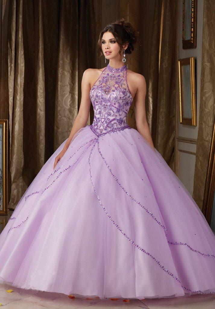 vestido de noiva roxo princesa com brilho