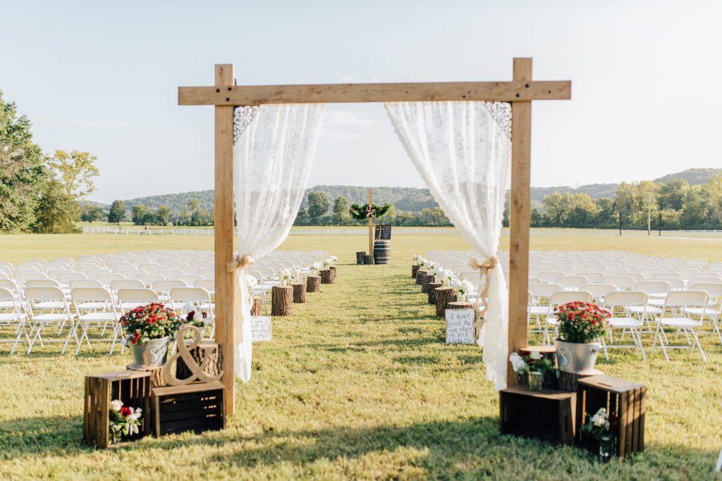 modelo de altar casamento no campo simples