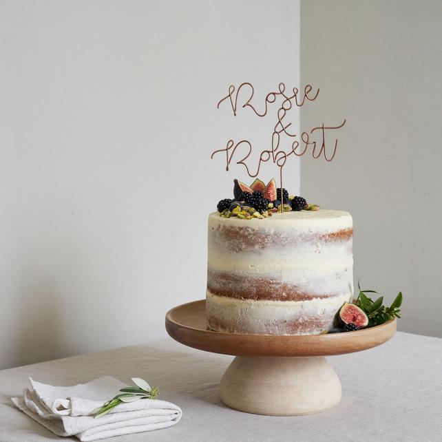 topper de bolo casamento com os nomes dos noivos