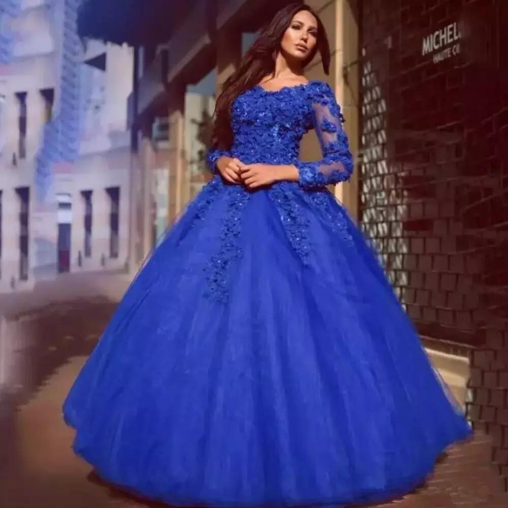 vestido de noiva azul manga comprida