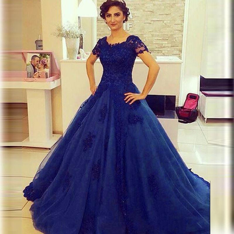 vestido de noiva azul manga curta