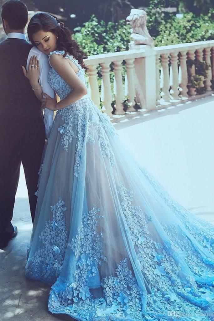 vestido de noiva azul saia longa
