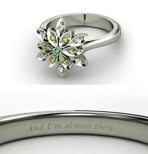 anel de noivado da Disney com frases